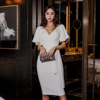 Dress Summer 2020 white S,M,L Mid length dress Solid color 3101N42 other