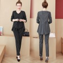 Women's large Autumn 2020 Other oversize styles Two piece set commute easy moderate Socket Long sleeves stripe Korean version V-neck Medium length polyester Three dimensional cutting routine Hersichy / Huo Shiqi 25-29 years old pocket Pure e-commerce (online only) trousers