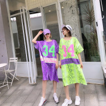 Dress Summer of 2019 Green, purple, yellow Average size Mid length dress singleton  elbow sleeve street Crew neck Loose waist letter Socket A-line skirt 18-24 years old T-type Printing, 3D 31% (inclusive) - 50% (inclusive) cotton Europe and America