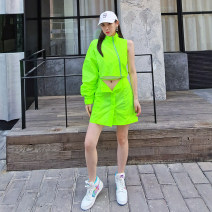 Dress Spring 2021 Black, fluorescent green S,M,L Short skirt singleton  street Half high collar High waist Solid color zipper other other Others 25-29 years old Type A 81% (inclusive) - 90% (inclusive) other other Europe and America