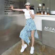skirt Spring 2021 M, L blue Mid length dress street High waist A-line skirt Abstract pattern Type A 25-29 years old 81% (inclusive) - 90% (inclusive) Denim cotton Stitching, printing Europe and America