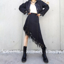 skirt Spring 2021 L,M,S black Short skirt street High waist A-line skirt Solid color Type A 25-29 years old 81% (inclusive) - 90% (inclusive) Denim cotton Tassel, zipper Europe and America