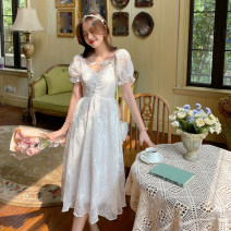 Dress Summer 2021 white S,M,L Mid length dress singleton  Short sleeve commute square neck Loose waist Decor Socket A-line skirt puff sleeve camisole 18-24 years old Type A Korean version 4.14B other