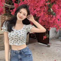T-shirt Picture color S, M Summer 2021 Short sleeve Crew neck Self cultivation have cash less than that is registered in the accounts puff sleeve commute other 30% and below 18-24 years old Korean version youth Broken flowers 4.13C Button, button