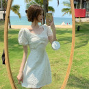 Dress Summer 2021 white M, L Middle-skirt singleton  Short sleeve commute V-neck Solid color other A-line skirt puff sleeve 18-24 years old Type A Korean version bow 4.3C