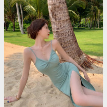 Dress Summer 2021 Bean paste green S, M Mid length dress singleton  Sleeveless commute V-neck Solid color camisole 18-24 years old Type A Korean version backless 4.8C
