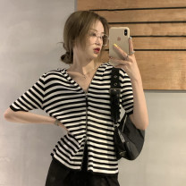 T-shirt Green, yellow, black, stripe Average size Summer 2021 Short sleeve Hood Self cultivation Regular routine commute other 30% and below 18-24 years old Korean version youth Solid color 4.9B