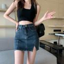 skirt Summer 2021 S,M,L Picture color Short skirt commute High waist A-line skirt Type A 18-24 years old 4.14A Pocket, button, zipper Korean version