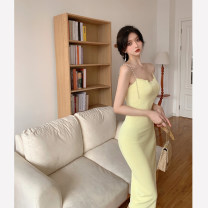 Dress Summer 2021 Green, yellow Average size Mid length dress singleton  Sleeveless commute Solid color camisole 18-24 years old Type A Korean version backless 4.14C