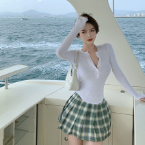 Fashion suit Summer 2021 S. M, l, average size Black long sleeve , White long sleeve , Dark green skirt 18-25 years old 4.6A