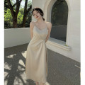 Dress Summer 2021 Champagne S, M Mid length dress singleton  Sleeveless commute V-neck High waist Solid color A-line skirt other 18-24 years old Type A Korean version 4.11A
