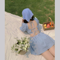 Dress Summer 2021 blue S, M Short skirt singleton  Short sleeve commute square neck Solid color other A-line skirt puff sleeve 18-24 years old Type A Korean version Open back, lace up 4.3C