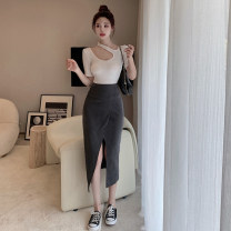 Fashion suit Summer 2021 S. M, average size T-shirt with round neck, T-shirt with neck, grey skirt, black skirt 18-25 years old four . 4B