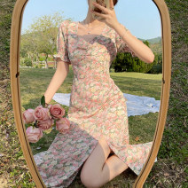 Dress Summer 2021 Picture color S,M,L Mid length dress singleton  Long sleeves commute V-neck High waist Broken flowers other A-line skirt puff sleeve 18-24 years old Type A Retro fold 4.2C