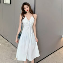 Dress Summer 2021 white S, M Mid length dress singleton  Sleeveless commute V-neck Solid color zipper A-line skirt camisole 18-24 years old Type A Korean version Open back, zipper 4.14C