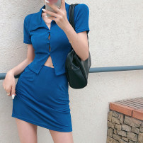 Fashion suit Summer 2021 S, M Blue top, blue skirt 18-25 years old four . 8A