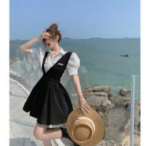 Dress Summer 2021 Shirt, suspender, skirt S. M, average size Short skirt Two piece set Sleeveless commute High waist letter straps 18-24 years old Type A Korean version Button 4.11C