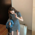 Dress Summer 2021 Black, gray Average size Short skirt singleton  Short sleeve commute Crew neck Solid color Socket A-line skirt routine 18-24 years old Type A Korean version 5.11B