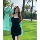 Dress Summer 2021 Black dress, grey dress, green shirt, blue shirt Average size Short skirt Two piece set Sleeveless commute High waist Solid color Socket A-line skirt camisole 18-24 years old Type A Korean version Asymmetry 3.30A