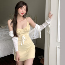 Dress Spring 2021 Yellow skirt and white cardigan Average size Short skirt Two piece set Sleeveless commute Solid color A-line skirt 18-24 years old Type A Korean version 3.31B