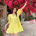 Dress Summer 2021 White, yellow Average size Short skirt singleton  Short sleeve commute V-neck Loose waist Solid color A-line skirt puff sleeve 18-24 years old Type A Korean version fungus 4.16A