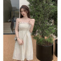 Dress Summer 2021 Apricot S,M,L Short skirt singleton  Sleeveless commute One word collar High waist Solid color A-line skirt 18-24 years old Type A Korean version Lotus leaf edge 4.6A