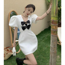 Dress Summer 2021 White, black S, M Short skirt singleton  Short sleeve commute V-neck High waist A-line skirt puff sleeve 18-24 years old Type A Korean version bow 4.15A