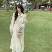 Dress Spring 2021 Black, light yellow Average size Mid length dress singleton  Long sleeves commute Polo collar Loose waist Solid color other other puff sleeve 18-24 years old Type H Korean version Pleats, buttons 4.4C