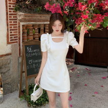 Dress Summer 2021 white S,M,L Short skirt singleton  Short sleeve commute square neck High waist Solid color Socket A-line skirt routine 18-24 years old Type A Korean version Splicing 4.15B