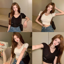 T-shirt White, black Average size Summer 2021 Long sleeves V-neck Straight cylinder have cash less than that is registered in the accounts routine commute other 30% and below 18-24 years old Korean version youth letter 4.7C