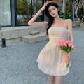 Dress Spring 2021 White, black Average size Short skirt singleton  Sleeveless commute High waist Solid color A-line skirt 18-24 years old Type A Korean version four . 4B