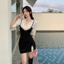 Dress Summer 2021 Top, suspender skirt Average size Short skirt Two piece set Sleeveless commute V-neck camisole 18-24 years old Type A Korean version Bowknot, stitching 4.11C