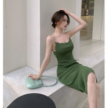 Dress Summer 2021 green Average size Mid length dress singleton  Sleeveless commute V-neck Solid color 18-24 years old Type A Korean version backless 4.9C