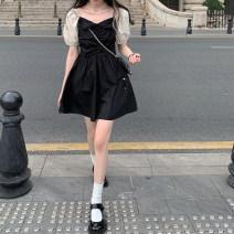 Dress Summer 2021 Dress, coat S,M,L Short skirt singleton  Short sleeve commute square neck High waist A-line skirt puff sleeve 18-24 years old Type A Retro Bowknot, stitching 4.10A