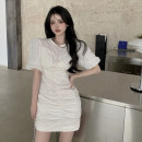 Dress Summer 2021 White, black S,M,L Short skirt Fake two pieces Short sleeve commute Crew neck High waist A-line skirt puff sleeve 18-24 years old Type A Korean version Splicing 4.1A