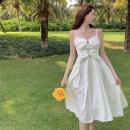 Dress Summer 2021 White suspender skirt S, M Mid length dress singleton  Sleeveless commute High waist Solid color A-line skirt 18-24 years old Type A Korean version 4.2B