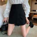 skirt Summer 2021 S,M,L Khaki, black Short skirt commute High waist Irregular Solid color Type A 18-24 years old 2.22B Asymmetry Korean version
