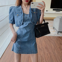 Dress Summer 2021 Jacket, suspender skirt S, M Short skirt Two piece set commute High waist Solid color other A-line skirt camisole 18-24 years old Type A Retro 3.31A