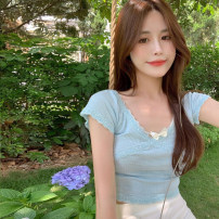 T-shirt White, blue Average size Summer 2021 Short sleeve V-neck Self cultivation have cash less than that is registered in the accounts routine commute other 30% and below 18-24 years old Korean version youth 4.15B
