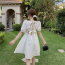 Dress Spring 2021 white S, M Short skirt singleton  Short sleeve commute square neck High waist Solid color other A-line skirt puff sleeve 18-24 years old Type A Korean version 4.2B