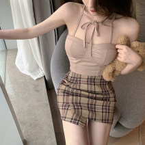 Fashion suit Summer 2021 S,M,L Khaki top, Khaki Skirt 18-25 years old 3.24A