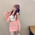 Fashion suit Summer 2021 Average size Pink top, pink skirt, grey top, grey skirt, white sling 18-25 years old 4.1C