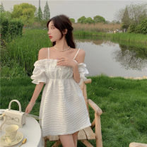 Dress Summer 2021 white S, M Short skirt singleton  elbow sleeve commute One word collar High waist Solid color A-line skirt puff sleeve camisole 18-24 years old Type A Korean version 4.12B