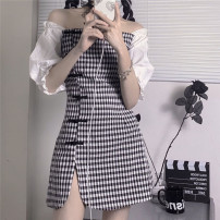 Dress Summer 2021 Black and white S,M,L Short skirt singleton  Short sleeve commute One word collar High waist lattice Single breasted puff sleeve Korean version 91% (inclusive) - 95% (inclusive) other