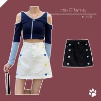 skirt Summer 2021 S,M,L,XL Short skirt commute High waist A-line skirt Solid color 18-24 years old 91% (inclusive) - 95% (inclusive) Denim cotton Korean version