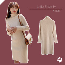 Dress Winter 2020 Average size Mid length dress singleton  Long sleeves commute High collar Solid color Socket A-line skirt routine 25-29 years old Type A thread 81% (inclusive) - 90% (inclusive) knitting polyester fiber