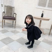 Dress Black, black without velvet female Other / other 80cm,90cm,100cm,110cm,120cm,130cm Other 100% winter Korean version Long sleeves Solid color other A-line skirt CICI1485233 12 months, 18 months, 2 years old, 3 years old, 4 years old, 5 years old, 6 years old, 7 years old