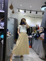 skirt Summer 2020 Average size Khaki, off white, black longuette A-line skirt