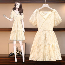 Women's large Summer 2021 Apricot Big XL, big XXL, big XXL, big L, big M Dress Fake two pieces Sweet Self cultivation moderate Socket Short sleeve Solid color Medium length polyester Three dimensional cutting routine Resin fixation 51% (inclusive) - 70% (inclusive) Medium length Princess Dress Ruili