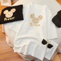 Women's large Spring 2021, summer 2021 White, black T-shirt singleton  commute easy moderate Socket Short sleeve Cartoon animation Korean version Crew neck routine cotton Three dimensional cutting routine 18-24 years old Three dimensional decoration 96% and above rivet